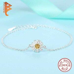 Image 5 - BELAWANG Genuine 100% 925 Sterling Silver Jewelry Sets For Women Girls Daisy Flower White Enamel Wedding Engagement Jewelry Sets