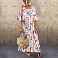 Fashion 2019 Summer Women Boho Maxi Dress Casual Floral Party Long Sundress Short Sleeve Beach