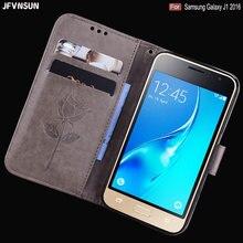 JFVNSUN Voor Samsung Galaxy J1 2016 Gevallen Emboss Rose Bloem Patroon Lederen Siliconen Wallet Flip Case Voor Samsung Galaxy J1 2016