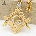 "Solid 18k Gold Plated Iced Out  Pendant G Initial Masonic Symbol Compass Free Mason Mens 27.5"" Cuban Chain Necklace K-Box"