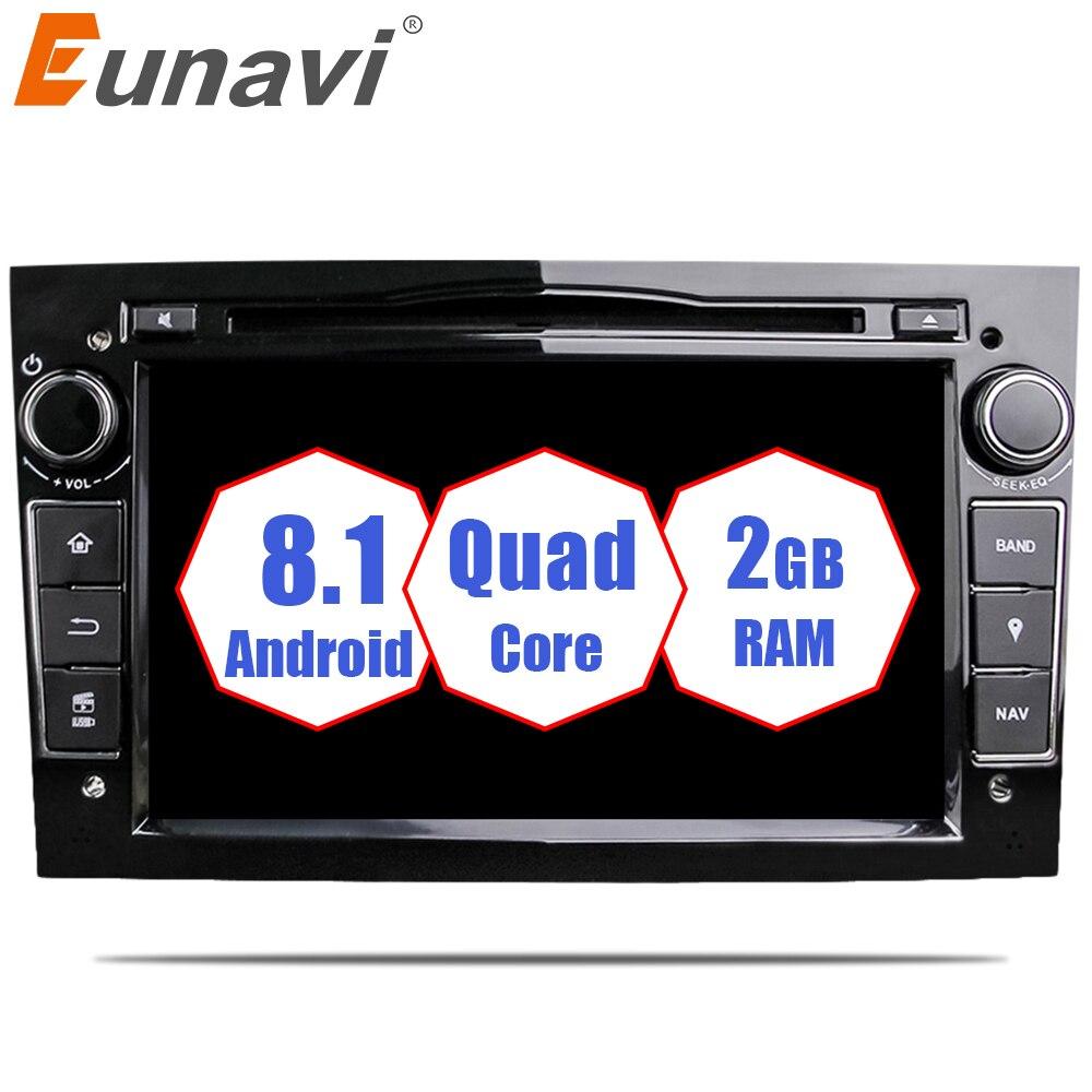 Eunavi Quad Core Android 8.1 2 din Voiture DVD Stéréo pour Vauxhall Opel Astra H G Vectra Antara Zafira Corsa GPS Navi Radio 2G