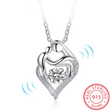925 Sterling Silver Dancing Stone Women Necklaces Heart Design Fashion Wedding Jewelry Gift For Wife (NE101988)