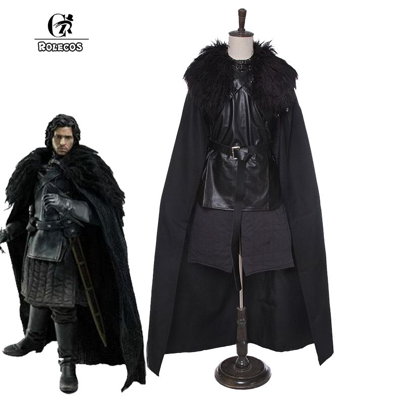 ROLECOS GoT Game of Thrones Cosplay Costumes Jon Snow Cosplay Costume Unisex Halloween Party Costumes Full
