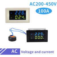 D85 Digital AC Voltage Meters 100A 80~500V Voltmeter Ammeter Watt Current Amps Volt Meter LCD Panel Monitor 110V 250V 380V