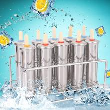 Durable Frozen Stainless Steel Popsicle Molds Ice Cream Stick Holder Silver Home DIY Ice Cream Moulds Round Ice Mould Wood Stick