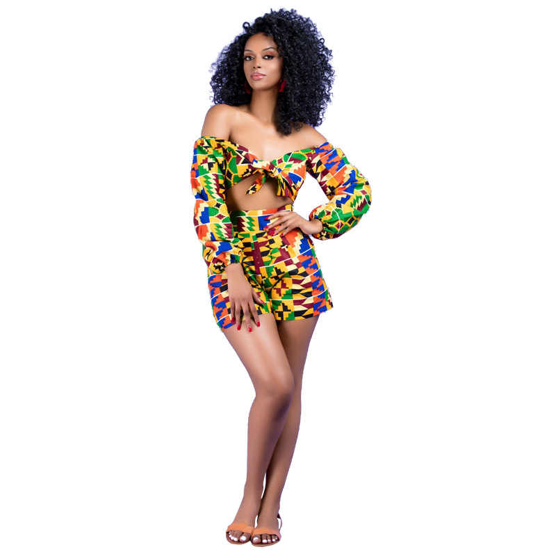European and American women's new African print small cape shorts set