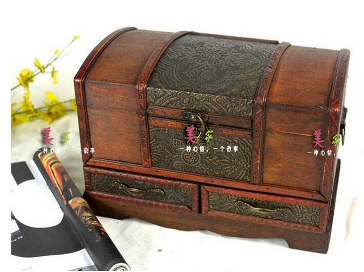 2pcs set vintage wooden storage box jewelry makeup for Storage treasures