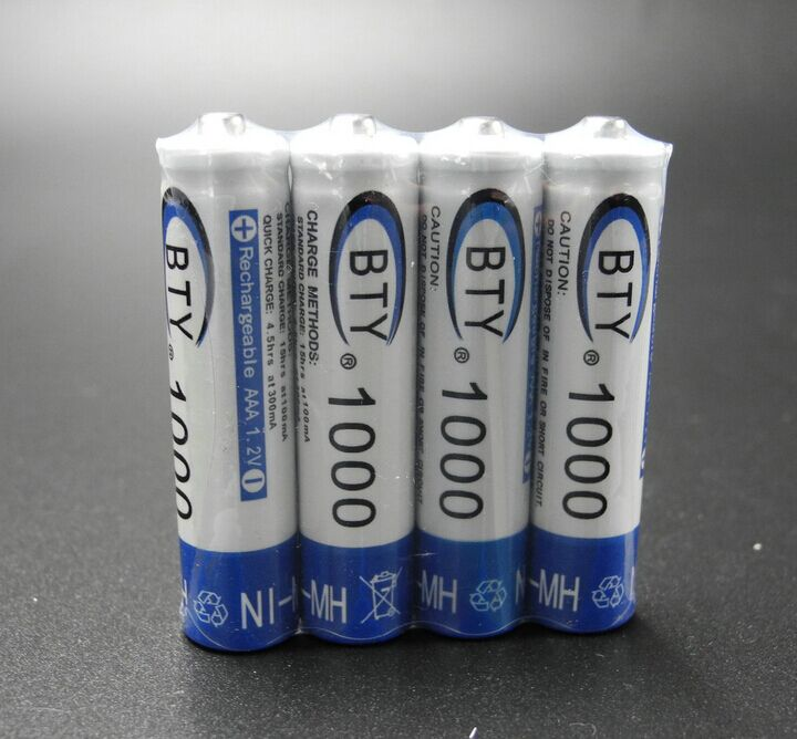 High Quanlity AAA Rechargeable Battery 1000mAh 4 X BTY NI-MH 1.2V Rechargeable 3A Battery Baterias Bateria Batteries MicroData