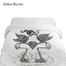 1PCS 3D Duvet Cover 220x240/200x200/140x200/150,HD Printing Quilt/Blanket Cover,Love angel Skull Bedding King/Double Drop Ship(China)