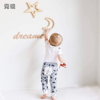 Ins Nordic Style Moon Rabbit Bunny Star Wooden Wall Sticker Decor Diy Wood Craft Decoration For