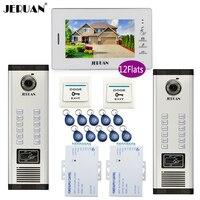 JERUAN 7 Inch LCD Monitor 2 Sets Of 700TVL Camera Video Door Phone 12 Apartments Access