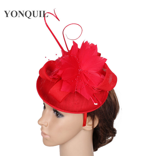 4ed9df8f76757 Women red fascinator hats with feather flower adorn wedding fascinator  sposa ostrich quill headpiece ladies Occasion headwear