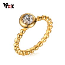 VNOX New Fashion Woman Gold Plated Ring Stackable Bead Band with CZ Stones Jewelry anel anillos mujer Size 6-8
