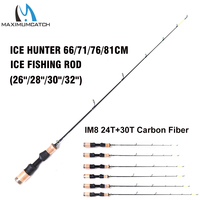 Maximumcatch Ice Hunter Fishing Rod 24T+30T Carbon Fiber Spinning Fishing Rod with Reel Combo 66/71/76/81cm Ice Rod