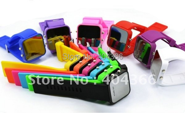 Wholesale Fashion Silicone LED Mirror watch 11 Colors available High Quality led Wrist Watches 500pcs/lot for christmas