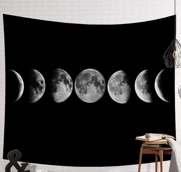 CAMMITEVER Black White Moon Tapestry Wall Hanging Throw Yoga Mat for Home Decor