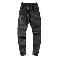 Hot Outono Inverno homens hiphop dança calças calças corredores couro PU preto vermelho prata mens basculadores sweatpants casual calças hip hop suor