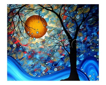 Gift Modern Art Trees Landscape oil painting on canvas Blue Essence High quality hand painted Room Decoration