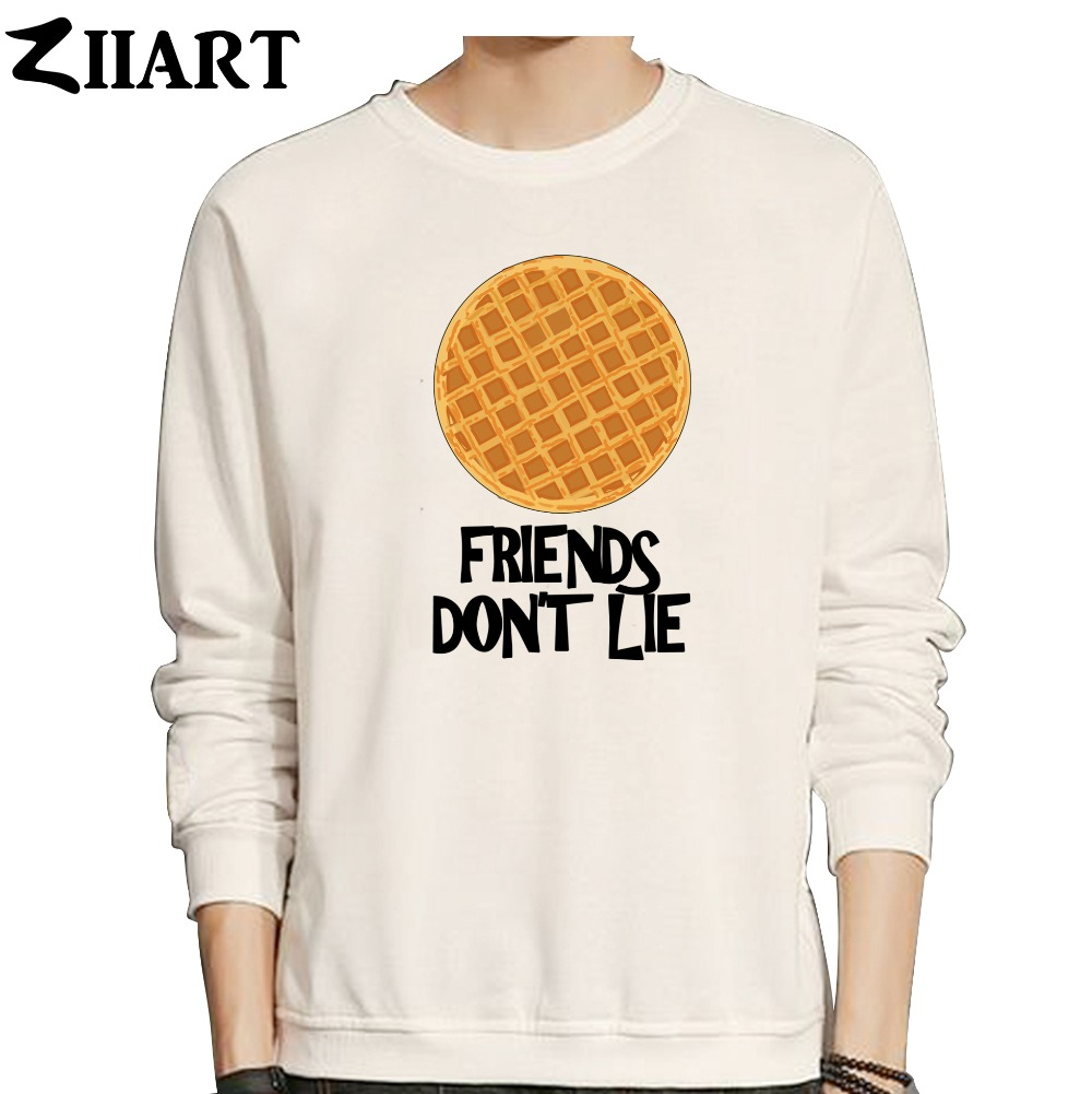Waffle FRIENDS DON'T LIE Stranger Things Valentine Decorated Cookies Boys Man Male Cotton Autumn Winter Fleece Sweatshirt