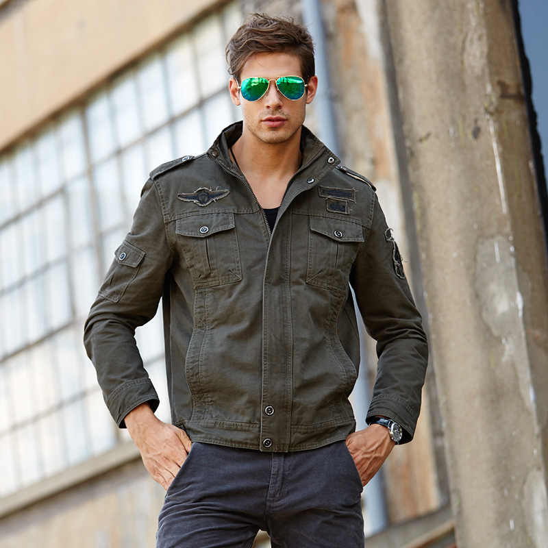 6XL Men jacket jeans military army soldier cotton Air force one male Brand clothing Spring Autumn Mens Bomber jackets 5