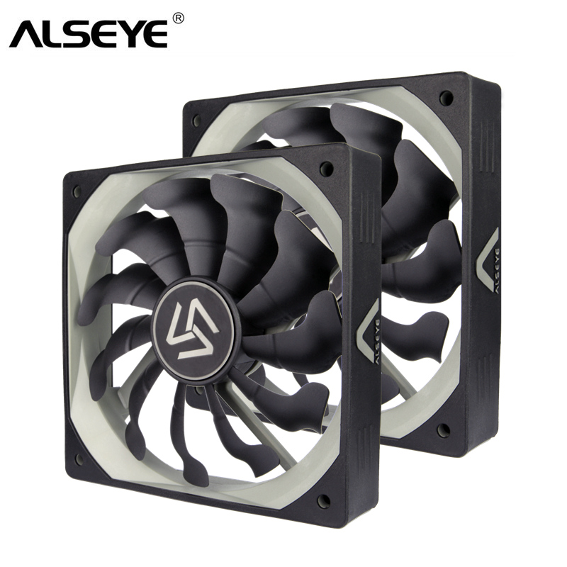 ALSEYE Computer Fan 120mm DC 12v PC Fan Cooler (2pieces) 1200RPM 3pin Silent Cooling Fans for CPU Cooler / Water Cooler 80 80 25 mm personal computer case cooling fan dc 12v 2200rpm 45cm fan cable pc case cooler fans computer fans vca81