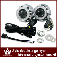 Free Shipping High Quality 12v 35w Double Angel Eye Ring Led Projector Lens Light Hid Xenon
