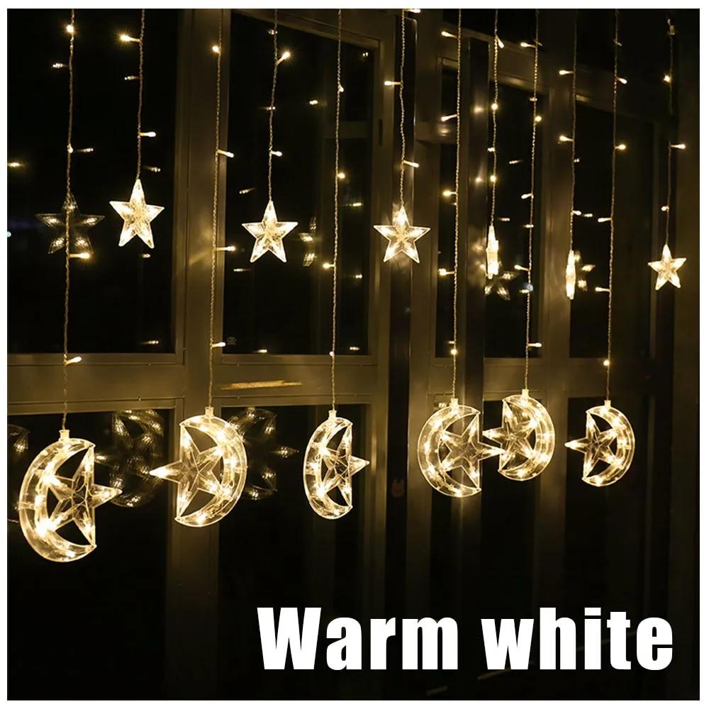 2,5 м светодиодная гирлянда со звездами и месяцами, сказочный светильник s 138 светодиодов для украшения гирлянды, Рождественский, Свадебный, праздничный светильник JQ