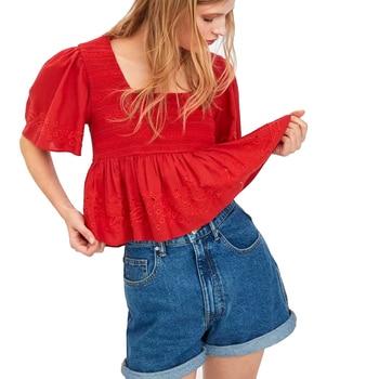 10be8f7022990ef 2019 za женская летняя обувь ажурные кружева вышитые U вырезом Блузки  женские футболки Для женщин s Camisa Blusas женственная блузка