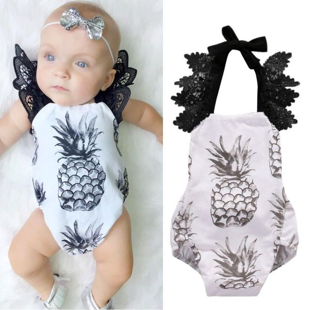 1083e5c0a0f6 Newborn Baby Girls Pineapple Backless Halter Ruffle Lace Romper Jumpsuit  Lace Sleeveless Sunsuit One-piece Outfit Clothes