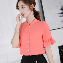 2019 Summer Women Fashion Blouse Elegant Solid Color Short Sleeve Stand Patchwork Large size Lady Button lady Chiffon Blouse chiffon patchwork short sleeve blouse