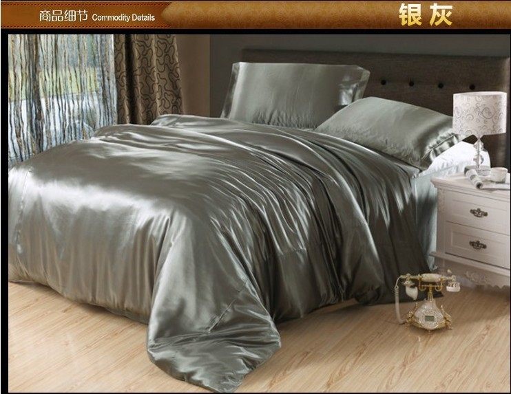 Luxury Silver Grey Silk Satin Bedding Set King Queen Full