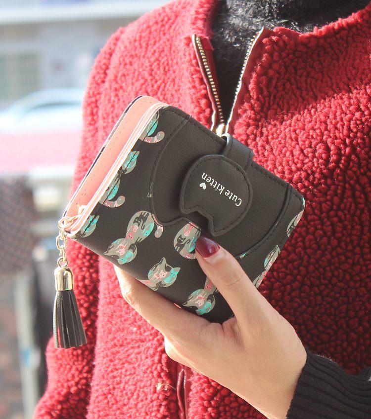 Tassel cartoon cat women wallet printing PU Leather women walelt brand designed coin purse female card holder cute girl wallet 4