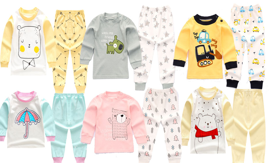 6 Colors Toddler Baby Boys Girls Pyjamas Cartoon Print Pajamas Set Child Nightwear Long Sleeve T shirt + Pants Kids Sleepwear casual print long sleeve t shirt ox pants twinset for boys