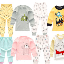6 Colors Toddler Baby Boys Girls Pyjamas Cartoon Print Pajamas Set Child Nightwear Long Sleeve T shirt + Pants Kids Sleepwear