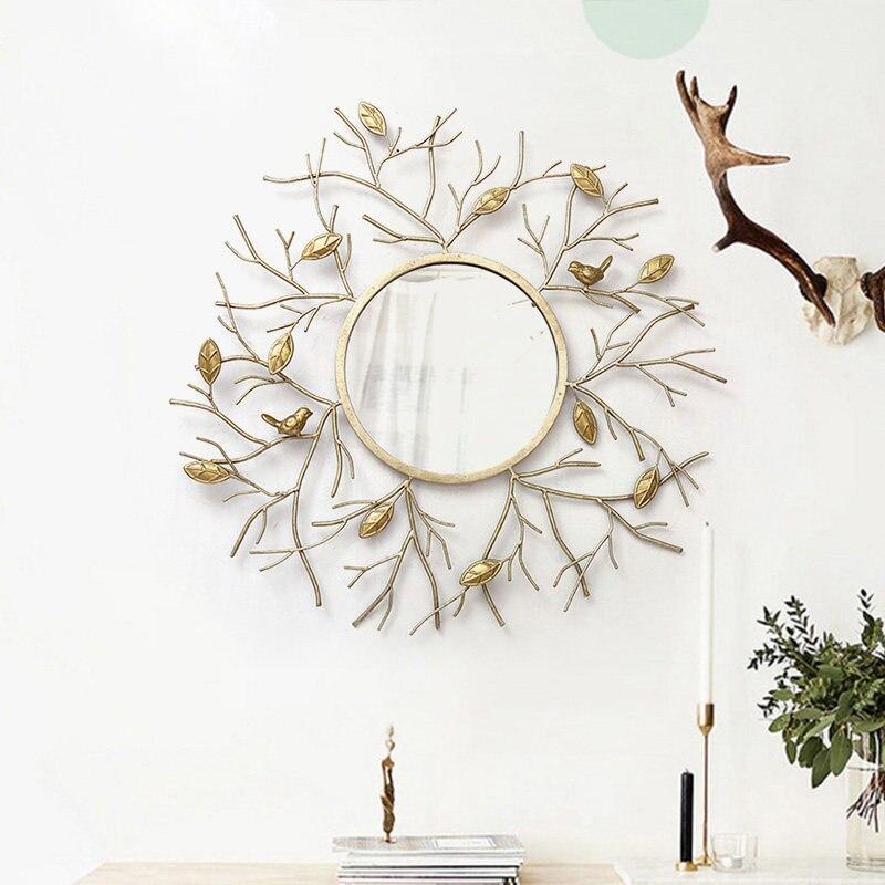 현대 단 철 크리 에이 티브 벽 교수형 액세서리 장식 거울 홈 거실 소파 배경 벽 벽화 공예 거울-에서벽걸이 스티커부터 홈 & 가든 의  그룹 2