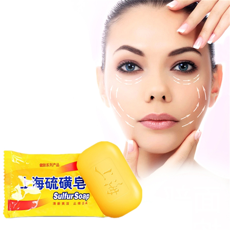 85g Shanghai Sulfur Soap Skin Conditions Acne Psoriasis Seborrhea Mite Anti Fungus Perfume Butter Bubble Bath Healthy Soaps