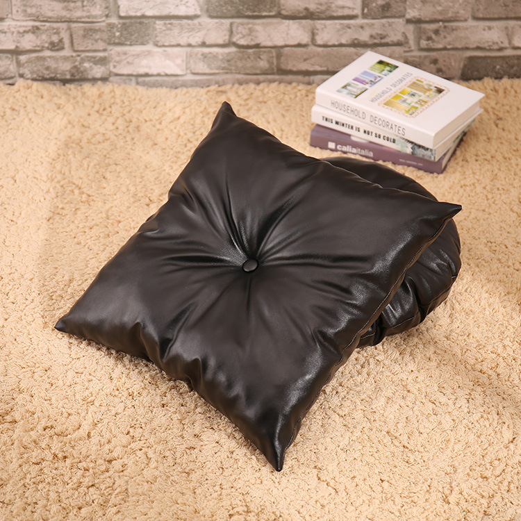 PU Leather Pillow Decorative For Couch Throw Pillow Black Leather Cushion Round Leather Seat Cushion With Insert