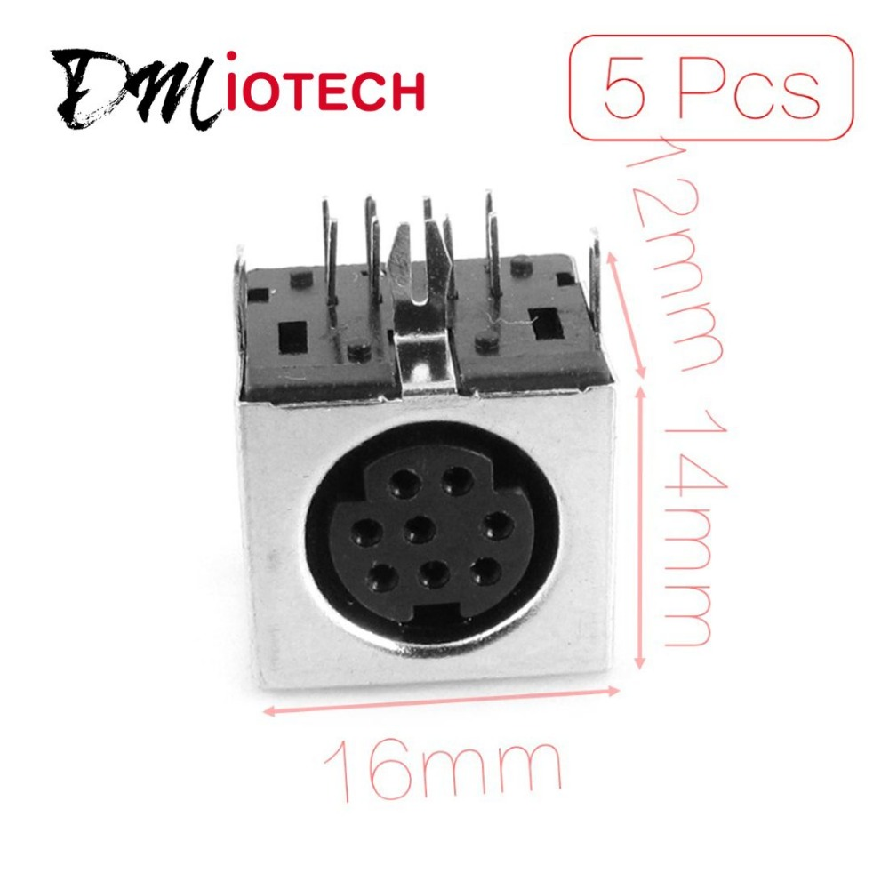 5 x Replacement S-video 8 Pin PCB Mount Mini Din Sockets Discount 50 200 pcs mini 4 pin circular pcb mount din connector
