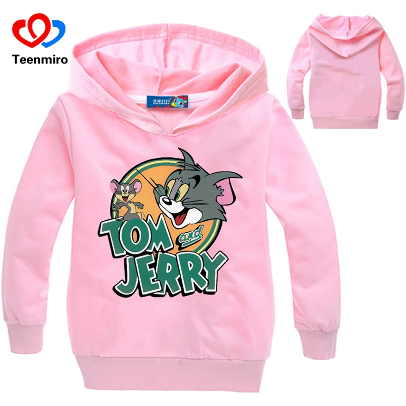 2018 New spring Kids Cat and Mouse Hoodie Baby Sweatshirt Boys Girls Long Sleeve Cotton cartoon Shirts Children Toddler Costumes
