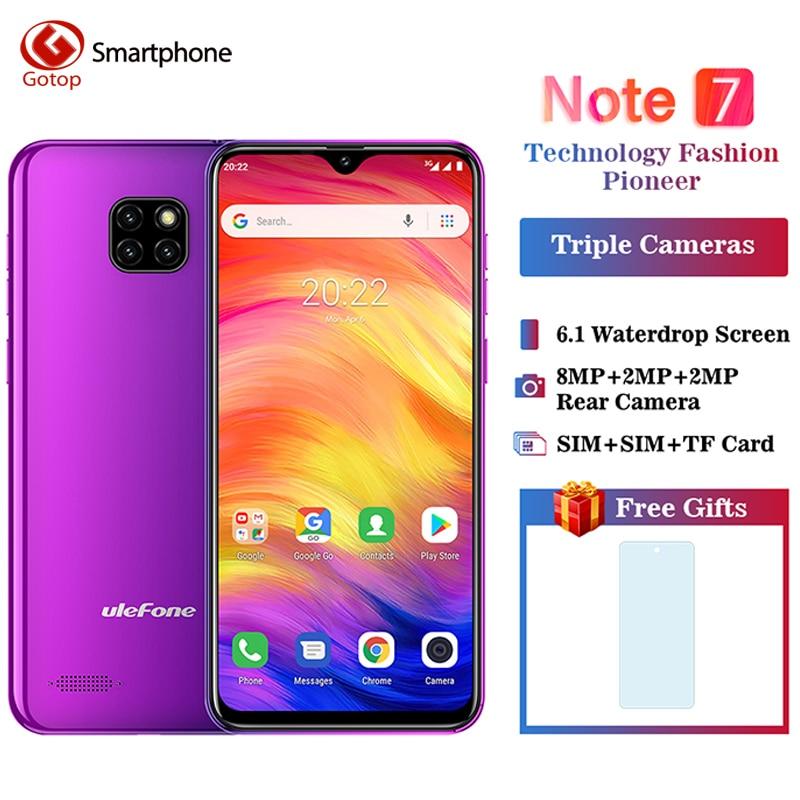 Ulefone Note 7 Smartphone 6.1 pouces 1GB RAM 16GB ROM MT6580A Quad Core 3500mAh Face ID trois caméras arrière Android GO téléphone portable
