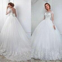 Элегантное белое кружевное свадебное платье с длинным рукавом, бальное платье, прозрачный дизайн, Аппликации, свадебное платье принцессы,, на шнуровке сзади