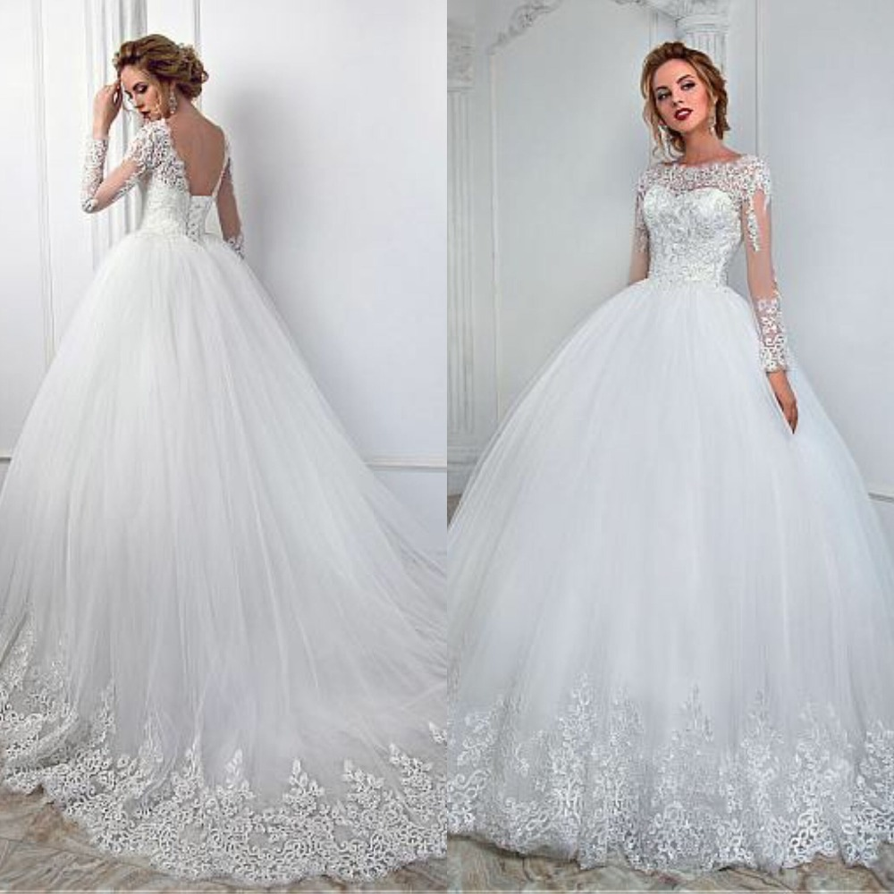 Elegant White Lace Long Sleeve Wedding Dress Ball Gown See Through Design Appliques Princess Bridal Dress 2019 Lace Up Back