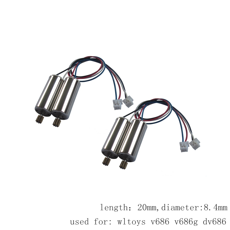 Aggressive 4pcs Motors For Wltoys V686 V686g Dv686 Cw Ccw Brush Engine Rc Drone Spare Parts Quadcopter Motor Accessory Dron Kit Moto Refreshing And Beneficial To The Eyes Parts & Accessories