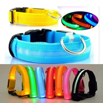 Nylon Pet Dog Collar LED Light Night Safety Flashing Glow In The Dark Dog Leash Cat Luminous Fluorescent Collars With Battery
