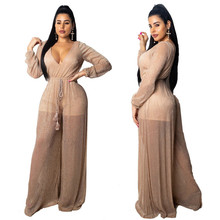 hot deal buy muxu bodysuit rompers womens jumpsuit rompers womens clothing deep v neck long sleeve fashion body suit combishort one piece