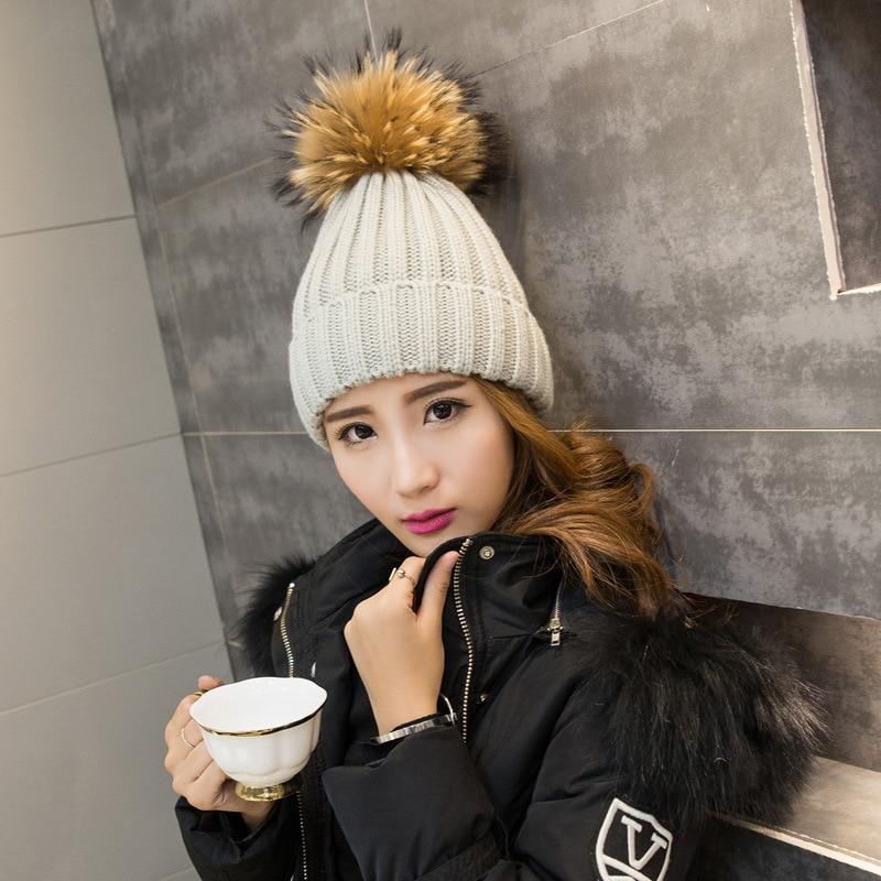 New Fashion Women Real Raccoon Fur Skullies & Beanies Super fox fur ball Wool hat Children's Winter fur Knitted Caps