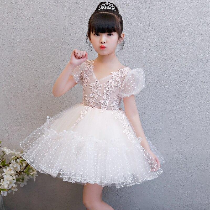 新しいフラワーガールドレスホワイトボールガウン子供ページェントドレスウェディングアップリケ女の子パーティードレス誕生日プリンセスドレスaa202  グループ上の ママ & キッズ からの ドレス の中 1