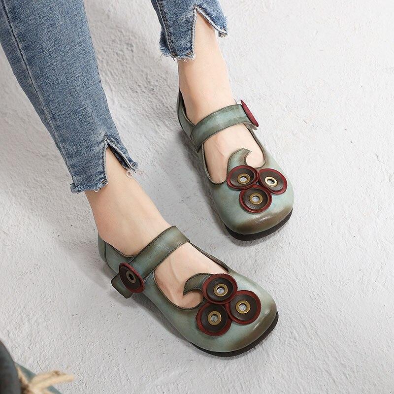 2019 ดอกไม้รองเท้าผู้หญิงรองเท้าหนังแท้ Handmade Vintage ฤดูใบไม้ผลิผู้หญิง Mary Janes สบายรองเท้านุ่ม-ใน รองเท้าส้นเตี้ยสตรี จาก รองเท้า บน   1