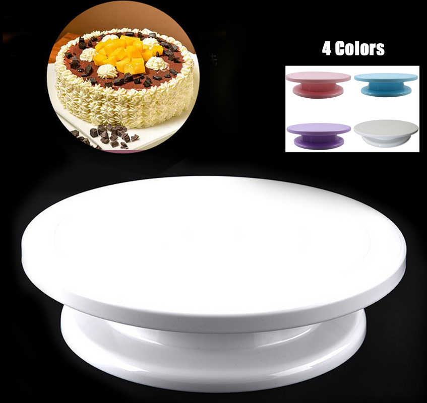"4 Colors 11"" Rotating Revolving Plate Decorating Cake Turntable Kitchen Display Stand Cake Swivel Plate Decor Stand White"