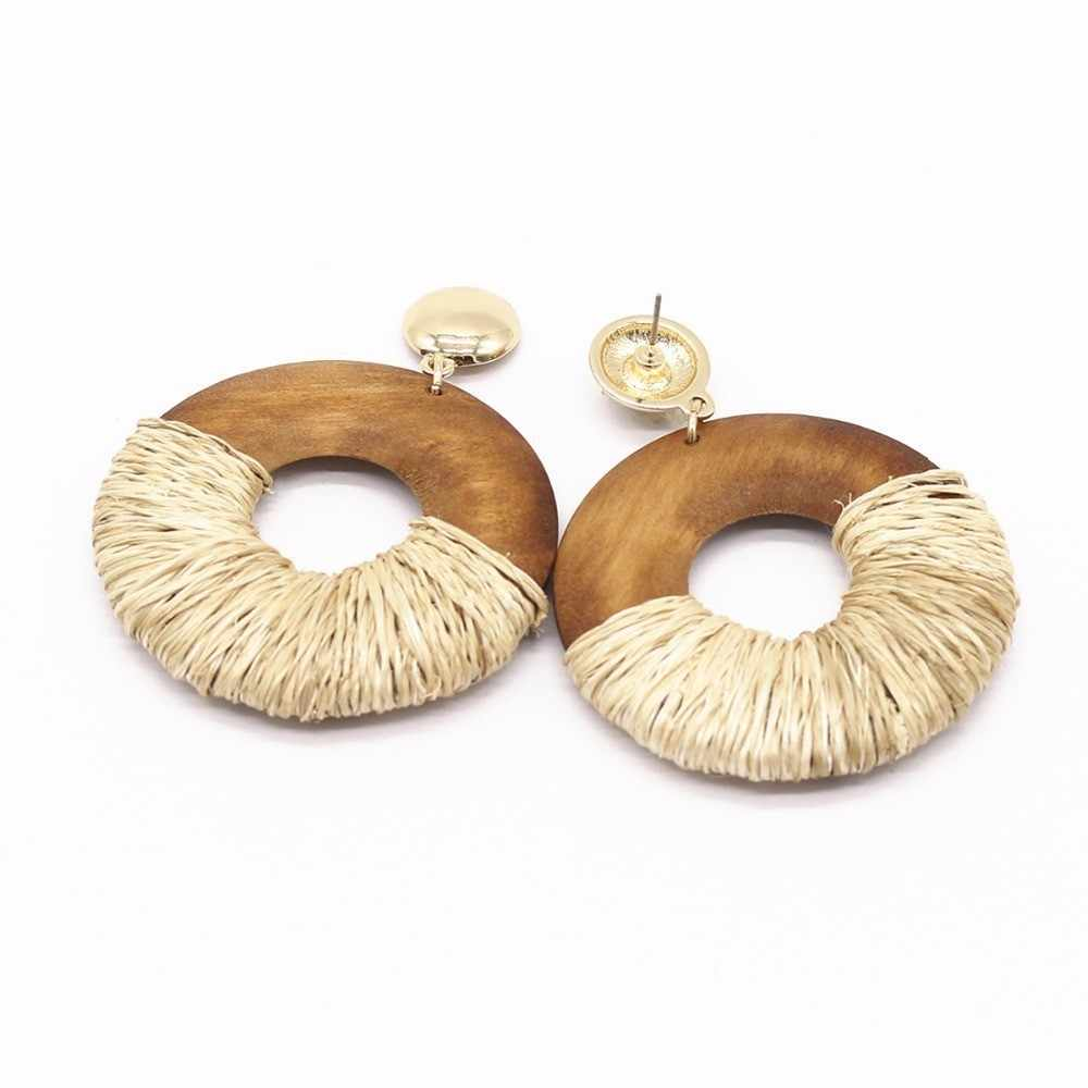 WEALTHYBOO Boho Raffia Earrings Jewelry 2018 New Arrival Lt Bown Circle Wood  wrapped Drop Dangle For Women Fashion Accessory